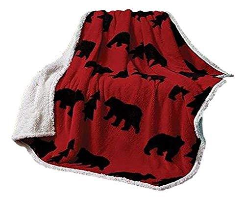 Regal Comfort Virah Bella Red and Black Bear Jacquard Fleece 50 x 60 inches Sherpa Throw, Blanket by Phyllis Dobbs - Bear Travel Blanket