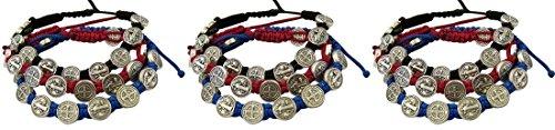 Saint+Benedict+Evil+Protection+Medal+on+Adjustable+Cord+Bracelet%2C+Set+of+3%2C+8+Inch%2C+Pack+of+3+Sets