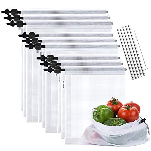 Max K Reusable Mesh Produce Bags for Grocery and...