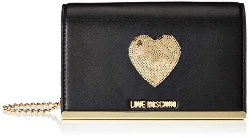 Love Moschino Women's Borsa Nappa Pu Shoulder Bag Black (Nero+sequins Oro)