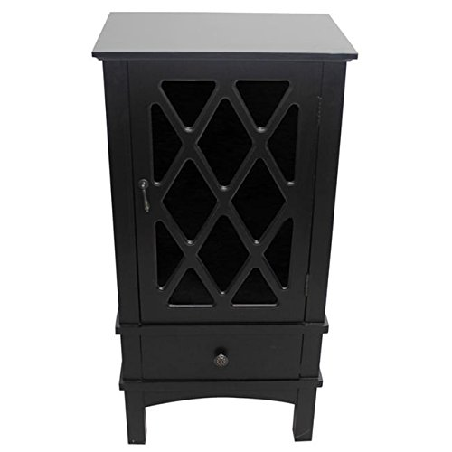 Heather Ann Creations The Cottage Collection Modern Style Wooden Living Room Single Door and Drawer Accent Cabinet with Glass Lattice Inserts, Black -