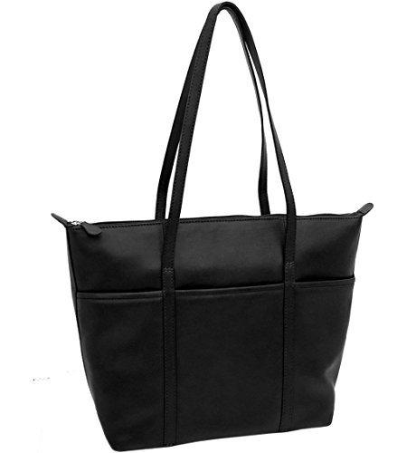 ili Leather Tote Handbag (Black)