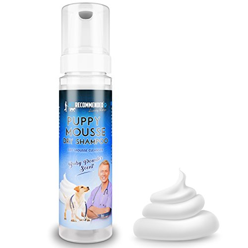 - Vet Recommended Puppy Shampoo - Waterless Dog Shampoo - No Rinse Dry Foam Mousse - Fur Baby Powder Scent - 8oz/240ml, Made in USA.