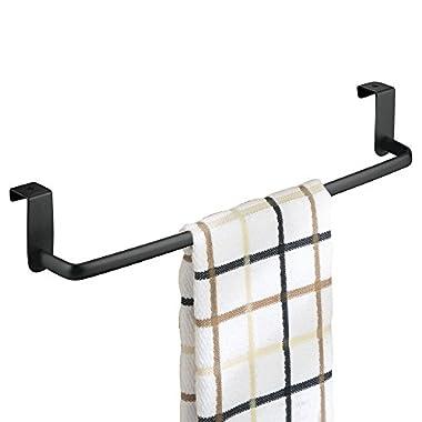 mDesign Over the Cabinet Kitchen Dish Towel Bar Holder - 14 , Black Matte