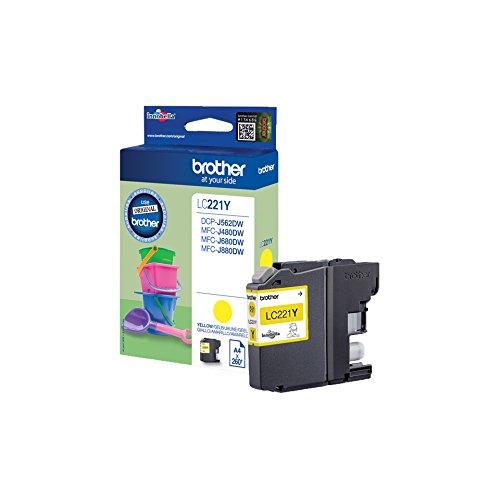 Brother LC-221Y cartucho de tinta - Cartucho de tinta para impresoras (Amarillo, Brother DCP-J562DW, MFC-J480DW, MFC-J680DW,...