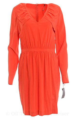 (Vera Wang Women's V-Neck Stretch Charmeuse Silky Dress 10 Persimmon Orange)