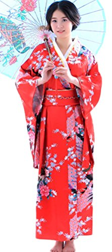 Geisha Outfit (Soojun Women's Traditional Japanese Kimono Style Robe Yukata Costumes 1 Red)