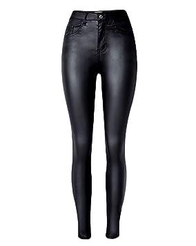Mujer Pantalones Lápiz de Cuero de PU Cintura Alta Elásticos Skinny Vaqueros Moto Leggings