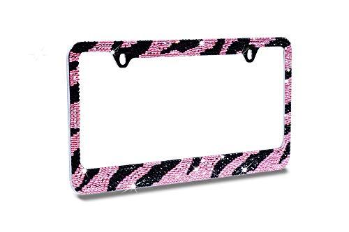JR2 Premium Bling Pink/Black ZEBRA Designed (Pink Cap-A Type) Crystal Diamond Rhinestone-Metal Chrome License Plate Frame