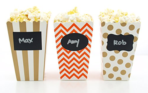 Thanksgiving Dinner Popcorn Boxes & Black Label Chalkboard Vinyl Stickers (36 Pack) - Brown & Orange Autumn Fall Harvest Party Favors, Small Movie Theatre Popcorn Tubs for Thanksgiving Party Supplies