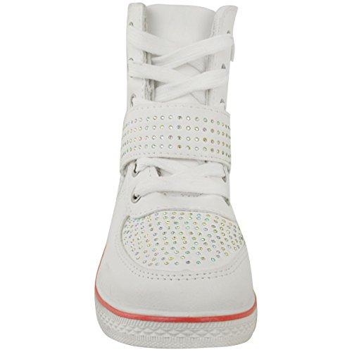 Niño Niña Zapatillas Cuña Zapatillas Deportivas Con Cordones Botines Pedrería Zapatillas Talla Blanco Cuero Sintético / Blanco Suela