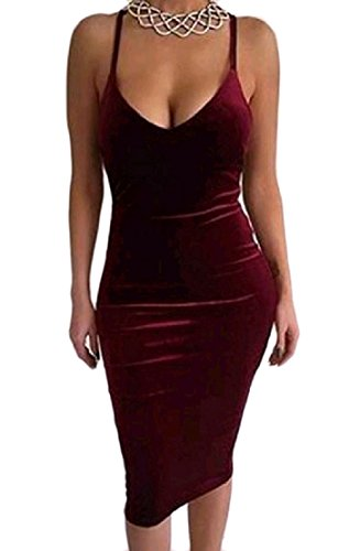 Velvet Backless Dress Wine Package Comfy Solid Slip Party Red Womens Hip Gold 4Rw46qXxH