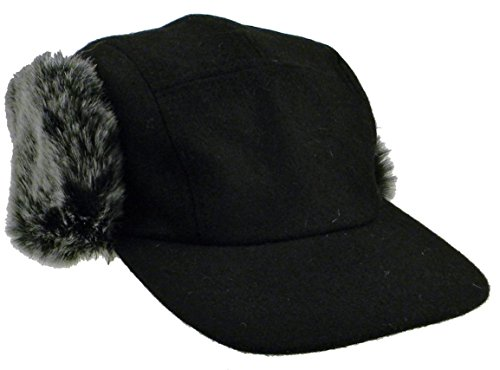 (Simplicity Winter Melton Wool Faux Fur Lined Snap-Up Earflap Hat Black/Grey)