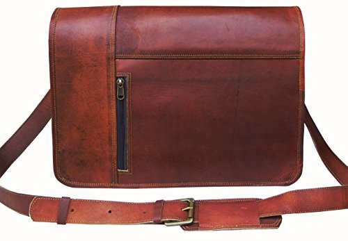 Leather Laptop Messenger Bag Vintage briefcase Satchel for M