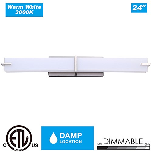 Cloudy Bay CBWL039830BN 24-inch Dimmable 3000K Warm White 120V 18W 1000lm LED Bath Vanity Light -36W Fluorescent Equivalent, ETL Qualified LED Wall Sconce Fixture , Brushed Nickel
