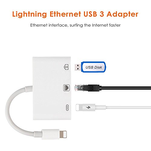 3 in 1 RJ45 Ethernet LAN Wired Network Adapter Compatible iPhone iPad to USB Camera Adapter Kit, HkittyXiong USB OTG Adapter Cable(White) by Hkitty Xiong (Image #1)