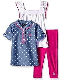 U.S. Polo Assn. Conjunto de Playera Deportiva para niñas, Playera Tejida y Leggings, Rojo -3454