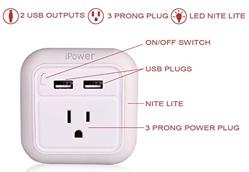 iWireless USA iPower Wall Charger Fast Charging With LED Night Light Dual USB Port For iPhone 6/7/7/8 plus/iPhone X/galaxy s7 s8/note 8 Android USB Wall Charger Multi Port (White-12pcs) by iWireless USA (Image #2)