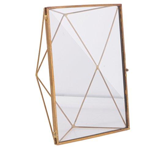 MonkeyJack Vintage Geometric Glass Free Stand Photo Frame Portrait Home Table Decor - Copper, 5 x 3.5 - Frames Glasses Geometric