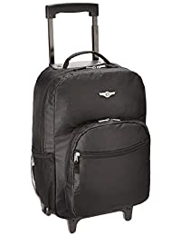 Rockland R01 Luggage Rolling Backpack, Black, Medium, 17-Inch