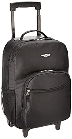 Amazon.com | Rockland Luggage 17 Inch Rolling Backpack, Black ...
