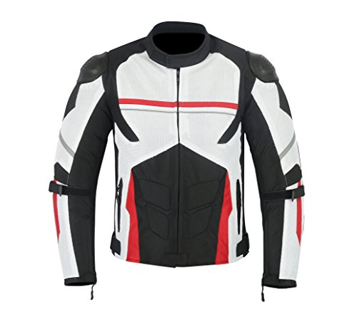 MENS MOTORCYCLE ARMOR HIGH PROTECTION WITH EXTERNAL ARMOR MESH WATERPROOF ALL WEATHERS JACKET WHITE/BLACK/RED MJ-1701. ()