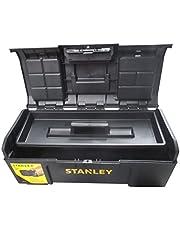 Stanley Basic 1-79-218 Gereedschapskist (24 inch, 60 x 28 x 26 cm, trolley van kunststof, koffer met snelsluiting en organizer, ruime en praktische gereedschapskist)