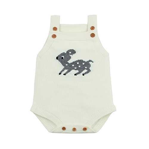 mimixiong Baby Romper Jumpsuit Knitting Reindeer Patterns Cartoon Outfits Clothes(White,0-3 Months)