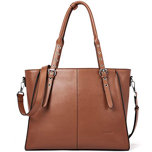 BOSTANTEN Leather Tote Handbag 15.6 inch Laptop Shoulder Briefcase Cross-Body Work Purses for Women Brown