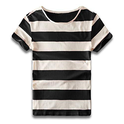 Zecmos Mens Striped T Shirts Crew Neck Wide Stripe Tee Slim Fit Cotton Black White S -