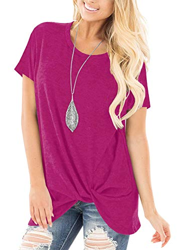 Unidear Women's Casual Short Sleeve Tops Side Twist Knotted Comfy Blouse Rose Red#3 S