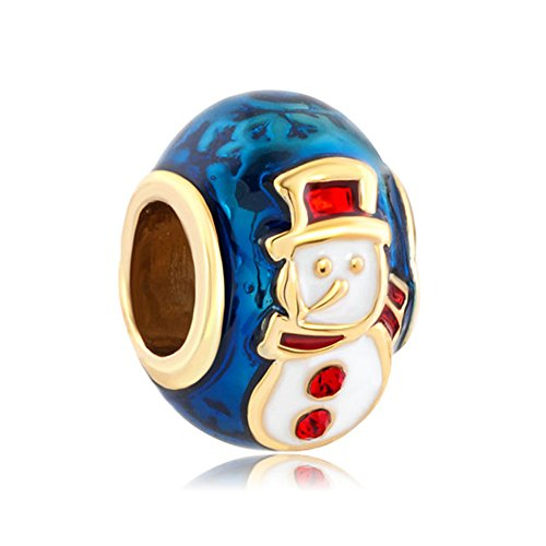 CandyCharms Red Hat Snowman Faberge Egg Charm Beads For Bracelets (Snowman Charm Bracelet)