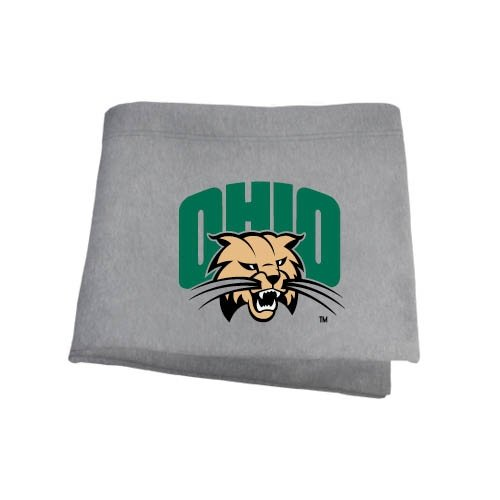 CollegeFanGear Ohio Grey Sweatshirt Blanket 'Ohio w/Bobcat Head'