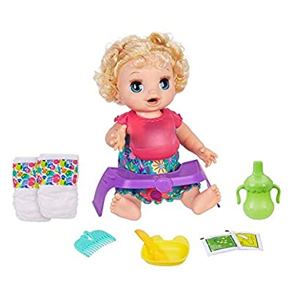 Baby Alive Happy Hungry Baby Blond Curly Hair Doll Makes 50 Sounds And Phrases Eats And Drinks And Fills Her Nappy For Kids Aged 3 And Up