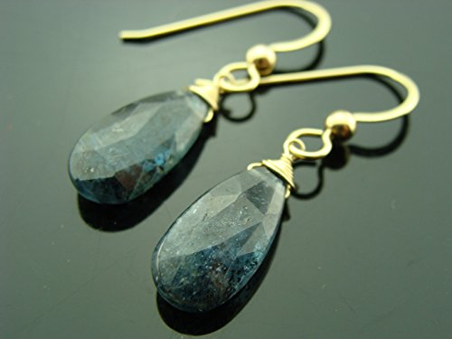 Moss Kyanite 14K Yellow Gold Earrings