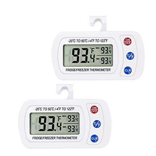 Upgraded 2Pack Digital Refrigerator Thermometer, iBetterLife IPX3 Waterproof Wireless Freezer Room Temperature Monitor w/Hook, Large LCD Easy to Read Display & Max/Min Function for Indoor/Outdoor
