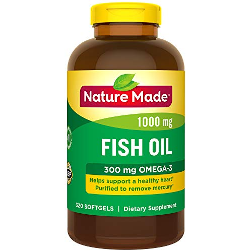 Nature Made Fish Oil 1000 mg Softgels, 320 Count for Heart Health† (Packaging May Vary) (Fish Omega Oil And 3)