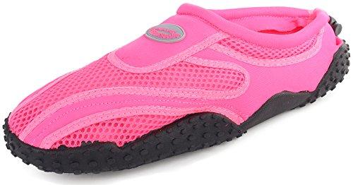 Enimay Heren Outdoor Stretch Nylon Mesh Rubberen Zool Verstelbare Sport Water Schoen Neon Roze