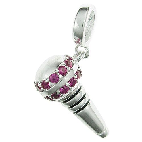 925 Sterling Silver Microphone CZ Crystal Dangle For European Charm Bracelets