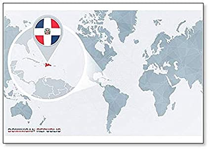 Amazon.com: World Map with Magnified Dominican Republic ...