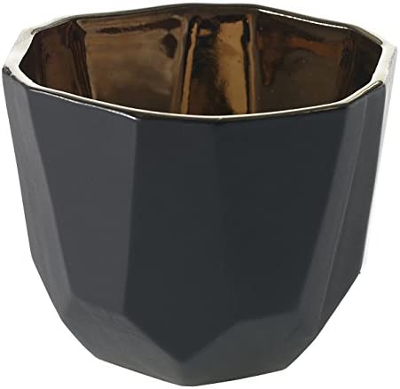 Black and Bronze Geometric Ceramic Pot – 4.5 x 3.75 Inches – Benito Planter w Matte Exterior and Shiny Interior – Modern Vase or Bowl Decor for Home or Office