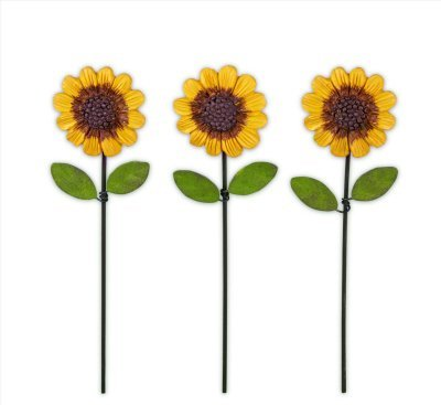 Studio M Gypsy Garden Collection Mini Sunflower Picks Set of 3 Assorted