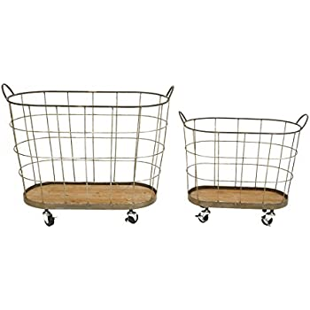 Creative Co-Op Metal Rolling Laundry Baskets Set