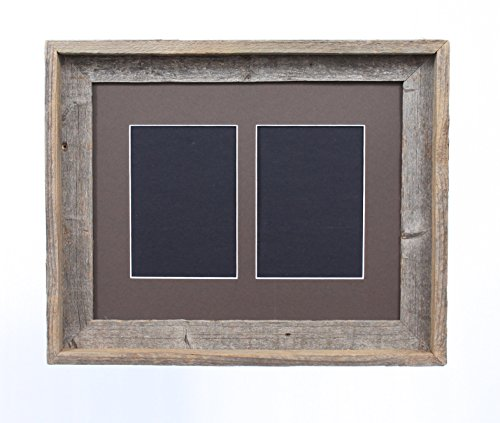 BarnwoodUSA 5 by 7 Inch Signature Picture Frame for 2 Photos - 100% Reclaimed Wood, Weather Wood