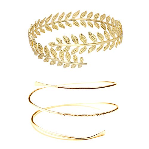 MANZHEN Fashion Gold Tone Swirl Leaf Upper Arm Bracelet Armlet Cuff Bangle Armband Adjustable (Leaf+Swirl-Gold)