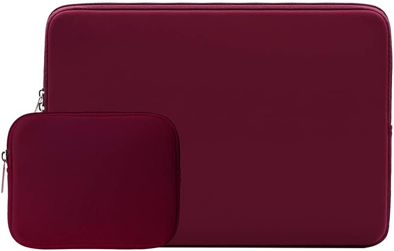 """RAINYEAR 14 Inch Laptop Sleeve Case Protective Soft Padded Zipper Cover Carrying Computer Bag with Accessories Pouch, Compatible with 14"""" Notebook Chromebook Tablet Ultrabook(Red)"""