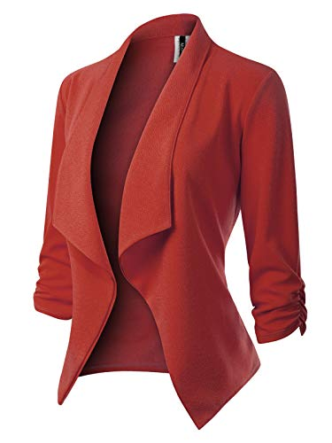 MixMatchy Women's [Made in USA] Classic 3/4 Gathered Sleeve Open Front Blazer Jacket (S-3XL) Rust S (Women Usa Made Clothing In)
