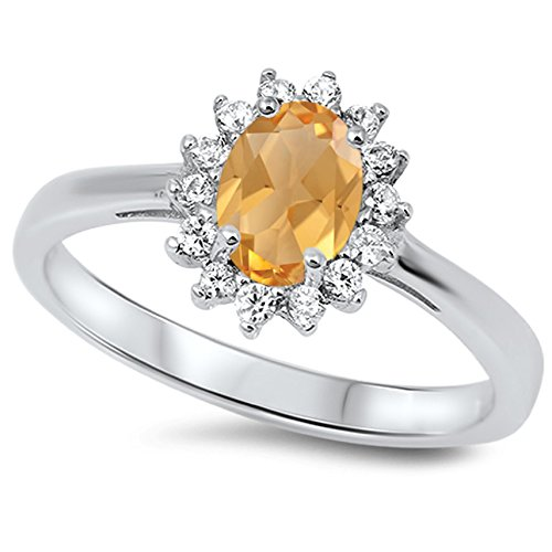 925 Sterling Silver Faceted Natural Genuine Yellow Citrine Oval Flower Halo Ring Size 12 (Faceted Flower Citrine)
