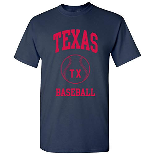 (Texas Classic Baseball Arch Basic Cotton T-Shirt - 3X-Large - Navy)