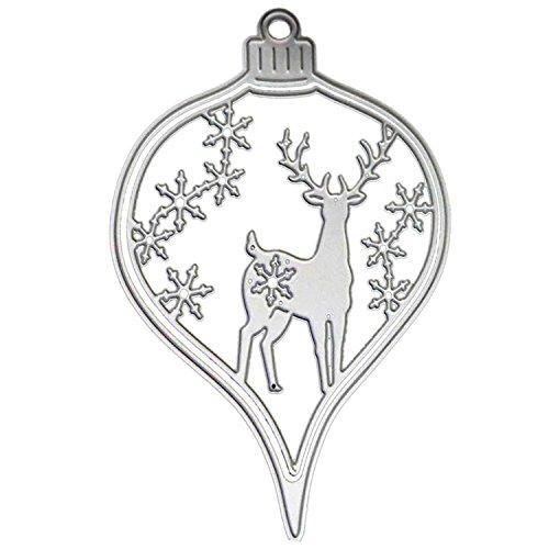Snowflake China Ornament (FairySu Christmas Ornaments Cutting Dies Stencils Xmas Deer Snowflake Decorative Embossing Scrapbooking Die Cut)